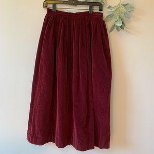 Vintage Ralph Lauren Red Velvet Skirt